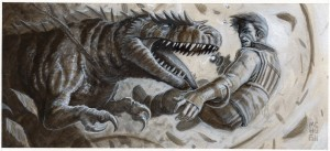 "Missing Limb -- $125.00 --Original art for ""Heroes of the Solar System"" for ""Rocket Age"" from Cubicle 7.6 5/8 x 14 7/8Acrylics"