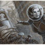 "Look what I found!  -- $125.00 --Original art for ""Heroes of the Solar System"" for ""Rocket Age"" from Cubicle 7.6 5/8 x 14 7/8Acrylics"