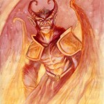 Fiery Demon--$50.00 ---9x12 paper (matted in white to fit 12x16 frame)watercolor