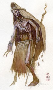 Zombie Shaman--$30.00 ---9x12 paperwatercolor