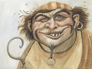 Hooky-- $75.00 --9x12 paper (matted in white to fit 12x16 frame)watercolor