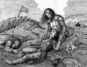 Death of a Hero--$250Earthdawn Game Master's Guide12.75 x 16.5Ink on paper