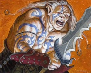 Fire Eater-- $125.00 ---Original art for the Warlord CCG.(matted in orange and brown to fit 12x16 frame)Acrylics