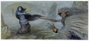 """The Barrow Wight Attacks!Art from """"Rivendell"""" for The One Ring Roleplaying Game from Cubicle 7Copyright 2014 Cubicle 7 Acrylics on paper6 and 5/8 x 15 inches ( on 12x16 paper)$390.00"""