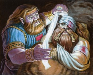 Dwarven Healer---$125.00 --- Original art for Warlord CCG Acrylic on illustration board (matted in blue and brown to fit a 12x16 frame)