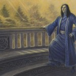 "Meeting Elrond---$390Art from ""Ruins of the North"" for The One Ring Roleplaying Game from Cubicle 7Copyright 2014 Cubicle 7 Acrylics on paper6 and 5/8 x 15 inches ( on 12x16 paper)"